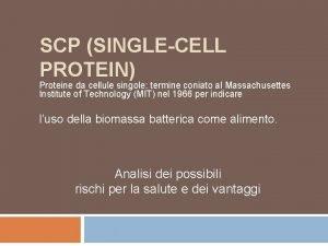 SCP SINGLECELL PROTEIN Proteine da cellule singole termine