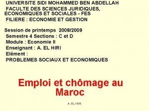 UNIVERSITE SIDI MOHAMMED BEN ABDELLAH FACULTE DES SCIENCES