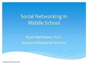 Social Networking in Middle School Ryan Hartmann Ph