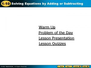 1 10 Solving Equations by Adding or Subtracting