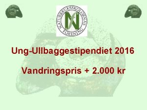 UngUllbaggestipendiet 2016 Vandringspris 2 000 kr Kriterier NBelever