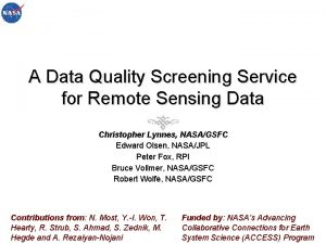 A Data Quality Screening Service for Remote Sensing