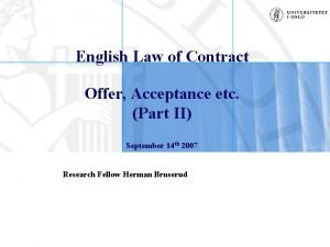 English Law of Contract Offer Acceptance etc Part