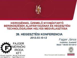 HIDROGNNEL ZEMEL NYOMSTART BERENDEZSEK ALAPANYAGNAK S HEGESZTSI TECHNOLGIJNK