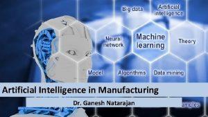 Artificial Intelligence in Manufacturing Dr Ganesh Natarajan The