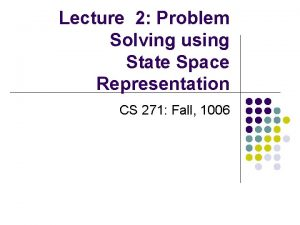 Lecture 2 Problem Solving using State Space Representation