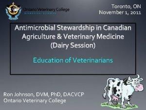 Toronto ON November 1 2011 Education of Veterinarians