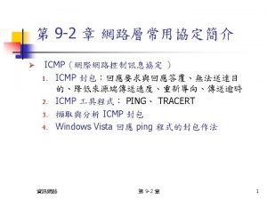 ICMP ICMP Sequence Number 2 Bytes Sequence Number