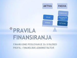 AKTIVA PASIVA DOBAVLJAI ZALIHE OPREMA PRAVILA FINANSIRANJA FINANSIJSKO
