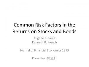 Common Risk Factors in the Returns on Stocks