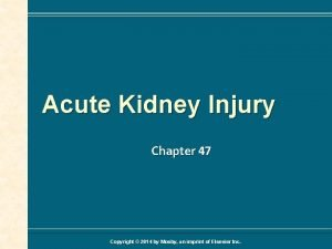 Acute Kidney Injury Chapter 47 Copyright 2014 by
