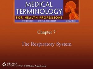 Chapter 7 The Respiratory System 2009 Delmar Cengage