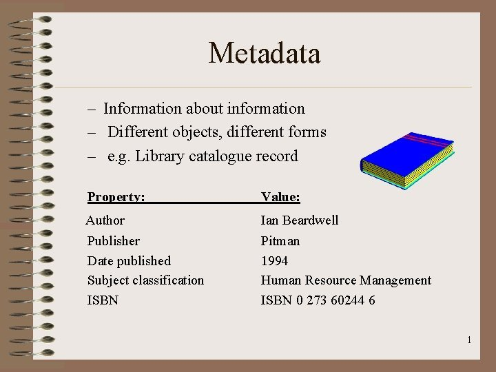 Metadata Information about information Different objects different forms