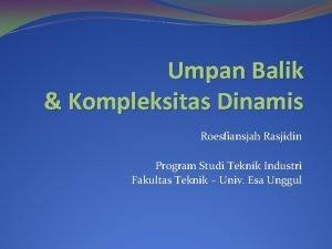 Umpan Balik Kompleksitas Dinamis Roesfiansjah Rasjidin Program Studi