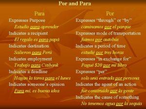 Por and Para Por Expresses Purpose Estudio para