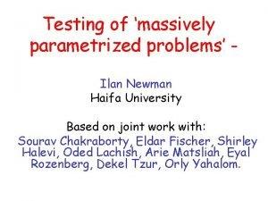 Testing of massively parametrized problems Ilan Newman Haifa