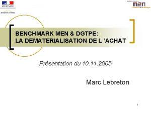 BENCHMARK MEN DGTPE LA DEMATERIALISATION DE L ACHAT