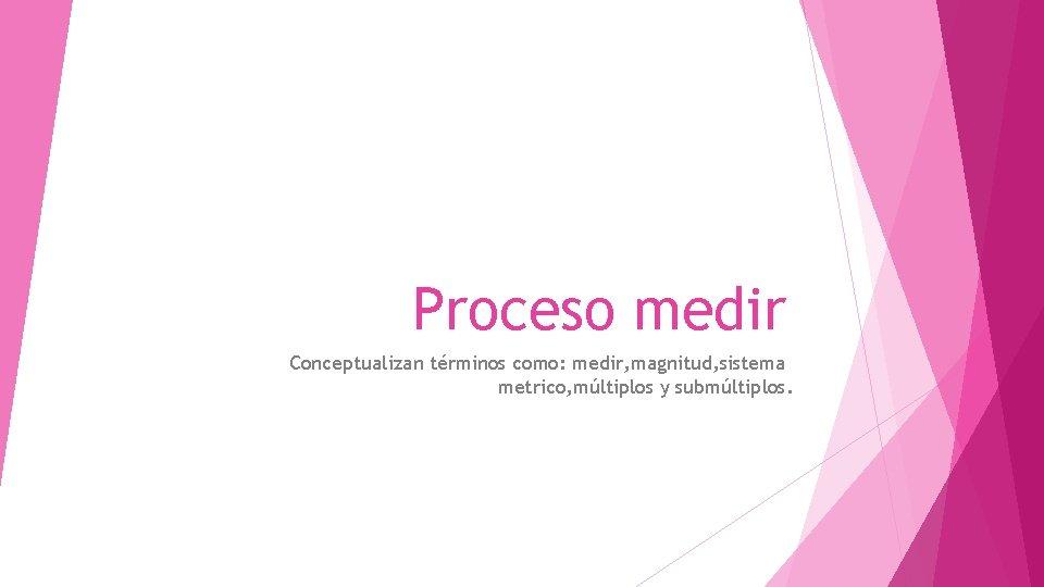 Proceso medir Conceptualizan trminos como medir magnitud sistema