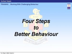 The Boys Brigade TRAINING Working With Challenging Behaviour