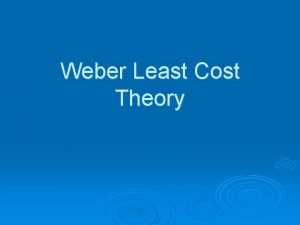 Weber Least Cost Theory 1 Assumption Isotropic plain