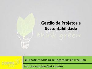 Gesto de Projetos e Sustentabilidade XIII Encontro Mineiro