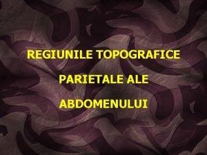 REGIUNILE TOPOGRAFICE PARIETALE ABDOMENULUI v definiie coninut cavitatea