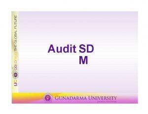 Audit SD M Lingkup Audit SDM adalah proses
