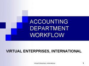 ACCOUNTING DEPARTMENT WORKFLOW VIRTUAL ENTERPRISES INTERNATIONAL Virtual Enterprises