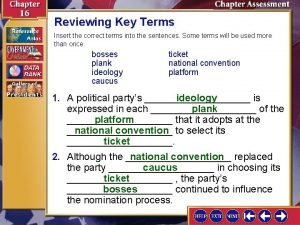 Reviewing Key Terms Insert the correct terms into