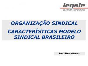 ORGANIZAO SINDICAL CARACTERSTICAS MODELO SINDICAL BRASILEIRO Prof Bianca