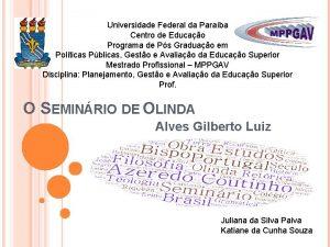 Universidade Federal da Paraba Centro de Educao Programa