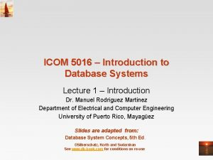 ICOM 5016 Introduction to Database Systems Lecture 1