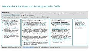 Wesentliche nderungen und Schwerpunkte der Go BD Allgemeines