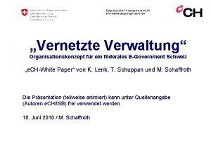 Eidgenssisches Finanzdepartement EFD Informatikstrategieorgan Bund ISB Vernetzte Verwaltung