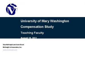 University of Mary Washington Compensation Study Teaching Faculty