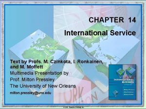 CHAPTER 14 International Service Text by Profs M