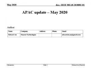 May 2020 doc IEEE 802 18 200082 01