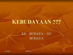 KEBUDAYAAN KE BUDAYA AN BUDAYA 1112020 Kebudayaan 1
