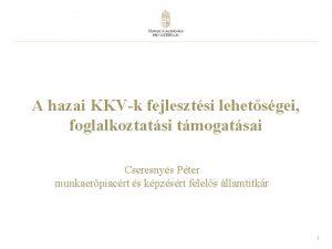 A hazai KKVk fejlesztsi lehetsgei foglalkoztatsi tmogatsai Cseresnys