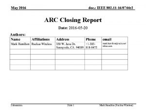 May 2016 doc IEEE 802 11 160744 r