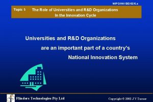 WIPOINVBEI026 a Topic 5 The Role of Universities