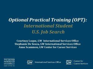 Optional Practical Training OPT International Student U S