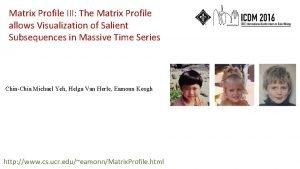 Matrix Profile III The Matrix Profile allows Visualization