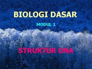 BIOLOGI DASAR MODUL 1 STRUKTUR DNA STRUKTUR DNA
