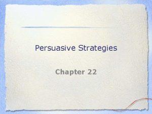 Persuasive Strategies Chapter 22 Analyze your Persuasive Goals