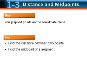 LESSON 1 3 Distance and Midpoints You graphed