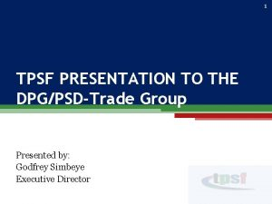 1 TPSF PRESENTATION TO THE DPGPSDTrade Group Presented