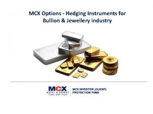 MCX Options Hedging Instruments for Bullion Jewellery industry