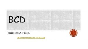 Repres historiques De larmoire bibliothque la BCD pdf