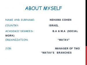 ABOUT MYSELF NAME AND SURNAME COUNTRY ACADEMIC DEGREES